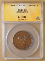 1840 BRAIDED HAIR LARGE CENT ANACS AU 50 DETAILS