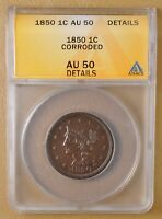 1850 BRAIDED HAIR LARGE CENT ANACS AU 50 DETAILS