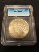 1935 S PEACE DOLLAR ICG AU-53 - BETTER DATE - ABOUT UNC - CERTIFIED SLAB - $1