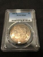 1880 O MORGAN DOLLAR PCGS MINT STATE 62 - UNCIRCULATED - SEMI KEY - CERTIFIED SLAB - $1