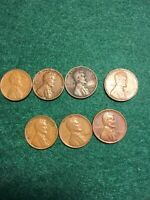 1941 S CIRCULATED WHEAT CENT 1942 1945. 1946. 194?  7 PC LOT.  SEE PICTURES