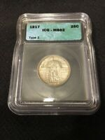 1917 STANDING LIBERTY QUARTER ICG MINT STATE 62 - TYPE 1 - UNCIRCULATED - CERTIFIED SLAB