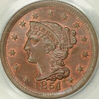 1851 BRAIDED HAIR LARGE CENT PCGS MINT STATE 65RB CAC