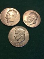 2 1974-D  & 1 1972  EISENHOWER US ONE DOLLAR COIN.   SHIPS FREE