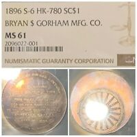 RAINBOW TONED 1896 BRYAN DOLLAR NGC MINT STATE 61 S-6 HK-780 HARD TO FIND IN UNC