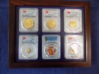2016 CHINA  3 OZ GOLD&SILVER PANDA 6 COINS SET ALL ARE PCGS MS 70 FIRST STRIKE