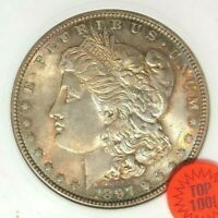 1897 MORGAN SILVER DOLLAR - ANACS MINT STATE 64 VAM 6A TOP 100 BEAUTIFUL COIN REF219