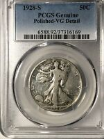1928S   WALKING LIBERTY HALF DOLLAR PCGS VG DETAILS POLISHED