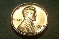 1938- D  GORGEOUS BU MINT STATE RED ORIGINAL LINCOLN CENT
