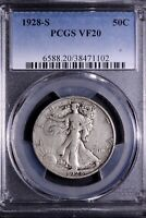 1928-S WALKING LIBERTY HALF DOLLAR PCGS VF20     6-2AFY