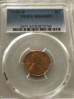 1938 D 1C LINCOLN PCGS MINT STATE 65RD