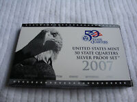 2007 S US MINT 50 STATE QUARTERS SILVER PROOF SET WITH BOX &