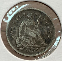 1855 SEATED LIBERTY HALF DIME 5 SILVER CENT US COIN COINAGE