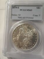 1879 S MORGAN SILVER DOLLAR PCGS MINT STATE 63  COIN