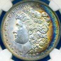 1900-O $1 MORGAN CRESCENT TONED RAINBOW COLOR NGC MINT STATE 62 DR