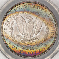1884 $1 MORGAN MONSTER COLOR TONED RAINBOW ANACS MINT STATE 63 DR