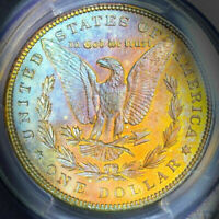 1897-P PCGS MINT STATE 63 MORGAN SILVER DOLLAR $ COLORFUL BRIGHT RAINBOW TONING DR
