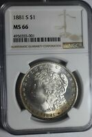 1881 S MORGAN SILVER DOLLAR NGC MINT STATE 66 55-001