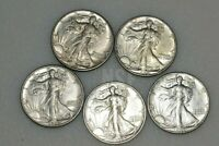 WALKING LIBERTY 50C AU 3 1943 1 1942 D 1 1942 LOT OF 5  LOTS OF LUSTER
