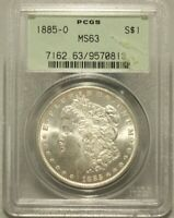 1885-O MORGAN SILVER DOLLAR GRADED MINT STATE 63 BY PCGS