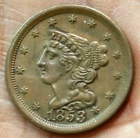1853 BRAIDED HAIR 1/2 HALF CENT COIN SMALL BERRIES LARGE DAT