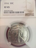 1916 WALKING LIBERTY SILVER 50C KEY DATE COIN NGC EXTRA FINE  45