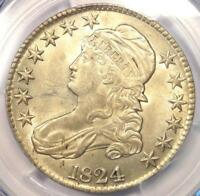 1824 CAPPED BUST HALF DOLLAR 50C COIN   PCGS UNCIRCULATED DETAILS  BU MS UNC