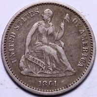 EXTRA FINE  1861 SEATED LIBERTY HALF DIME                 J1UCL