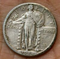 1924 D STANDING LIBERTY QUARTER 25C SILVER COIN FULL LEAVES