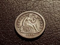 CHOICE EXTRA FINE  1858-S SEATED LIBERTY DIME       DATE