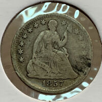 1857 SEATED LIBERTY HALF DIME 5 CENT SILVER US COIN DI45
