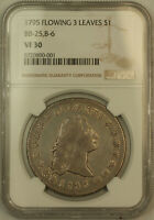 1795 3 LEAVES FLOWING HAIR SILVER DOLLAR $1 NGC VF-30 BB-25, B6 KH