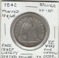 1842 P SEATED LIBERTY DOLLAR    XF VF HI BOOK VALUE 99 CENT