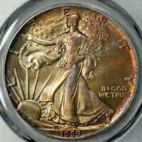 1989 MINT STATE 67 AMERICAN SILVER EAGLE $1 ASE, PCGS GRADED, MONSTER TONED GEM DR
