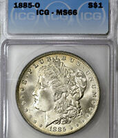 1885-O MINT STATE 66 MORGAN SILVER DOLLAR $1, ICG GRADED