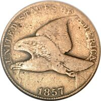 1857 1C OBV DIE CLASH WITH $20 SNOW-7 FLYING EAGLE CENT ANACS VG08