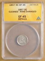 1857 SEATED HALF DIME ANACS EF 45 DETAILS