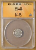 1861 SEATED HALF DIME ANACS EF 45 DETAILS
