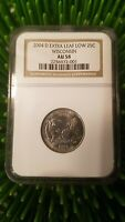 2004 D WISCONSIN EXTRA LEAF LOW STATE QUARTER NGC  AU58