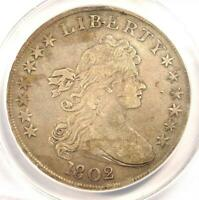 1802 DRAPED BUST SILVER DOLLAR $1 COIN - CERTIFIED ANACS VF30 DETAILS -