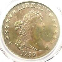 1799 DRAPED BUST SILVER DOLLAR $1 COIN - CERTIFIED PCGS VF DETAIL -