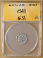 1858 P SEATED HALF DIME ANACS VF 35 DETAILS