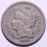 1869/869 3 CENT PIECE COPPER NICKEL 3CN - REPUNCHED DATE           R10XNT