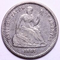 EXTRA FINE  1861 SEATED LIBERTY HALF DIME             R9AET