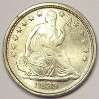 1839-O SEATED LIBERTY HALF DIME H10C - SHARP DETAILS WHIZZED -  DATE
