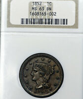 1852 MINT STATE 63 BN BROWN BRAIDED HAIR LARGE CENT 1C, NGC GRADED