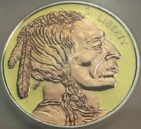 BUFFALO .999 SILVER ROUND COPPER & GOLD GILDED ICG PROOF GENUINE 2 DR