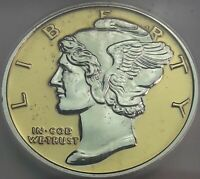 MERCURY DIME .999 SILVER ROUND GOLD GILDED PRISTINE ICG PROOF GENUINE 6 DR