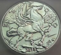 2014 .999 SILVER PEGASUS ROUND GOLD GILDED PRISTINE ICG PROOF GENUINE 2 DR