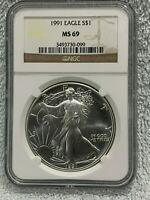 US 1991 SILVER EAGLE NGC GRADED MINT STATE 69
